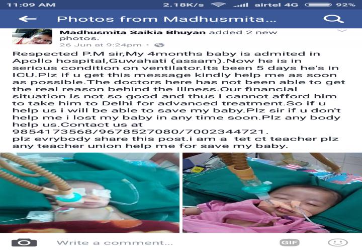 HELP SNIGDHARAG,a 4month old whos in ICU from last 1 week. - story -1
