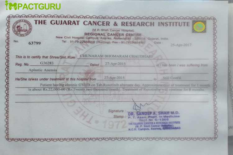 help found ChunaRam aplastic anemia Cancer - story -1