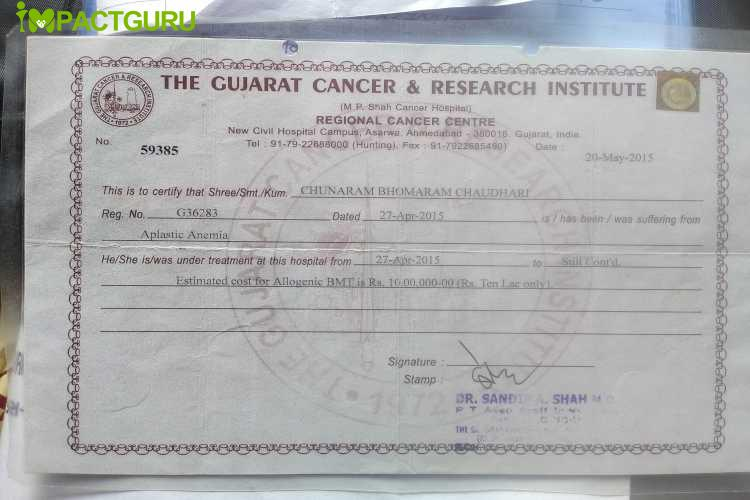 help found ChunaRam aplastic anemia Cancer - story -2