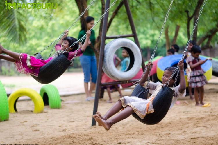 Using scrap tyres to create playgrounds for children
