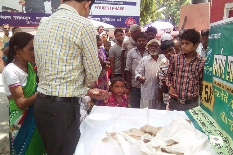 Providing  daily meal to poor families of patients for Rs5