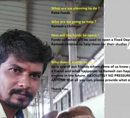 Raising  funds for Ramesh B children future