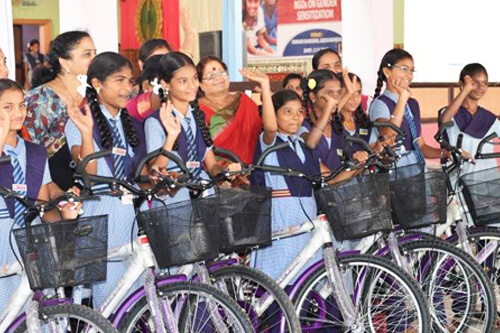 Tharuni Swecha sent girls riding to school